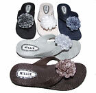 Ladies Womens Flower Wedge Toe Post Flexible Comfy Sandals Flip Flops Sizes 3-8