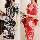 hot Women Floral Flower Printed Party Cocktail Business Vintage Sexy MIDI Dress