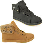 LADIES WOMENS FLAT ARMY COMBAT GRIP SOLE FUR LINED WINTER ANKLE BOOTS SHOES SIZE