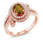 1.95 Ct Oval Whiskey Quartz 925 Rose Gold Plated Silver Ring