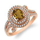1.95 Ct Oval Natural Champagne Quartz 925 Rose Gold Plated Silver Ring