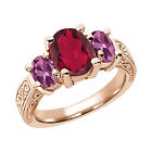 3.30 Ct Ruby Red Mystic Quartz Pink Tourmaline  RG Plated Silver  Ring
