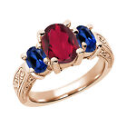 3.66 Ct Ruby Red Mystic Quartz Blue Created Sapphire  RG Plated Silver  Ring