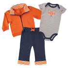 Yoga Sprout Boys 3 Piece Navy/Orange Playwear Set with Zip Up Cardigan, Short Sl