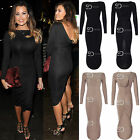 AN28 Womens Ladies Celebrity Inspired Ruched Back Long Sleeve Bodycon Dress
