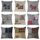 "SCOTTIE DOG OWL PATCHWORK WOOL BLEND CUSHION COVER BLUE RED NATURAL 18"" x 18"""