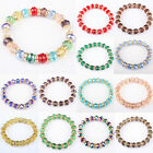 Free Shipping HOT ! Mix-Colored Crystal Glass Bead Stretchy Bracelet Bangle 1PC