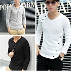 Mens Slim Fit Causal Long Sleeve V-Neck Muscle T-Shirt Button Shirts Tee Tops