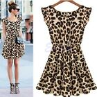 Women Sexy Leopard Houndstooth Casual Evening Cocktail Party Mini Dress Summer