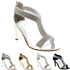 Womens T-Bar Evening Diamante Party Encrusted Wedding Sparkly Prom Sandal UK 3-9