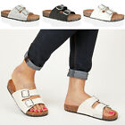 Womens ladies casual flat slip summer footbed double buckle black sandals size