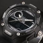 4 Colours Mens Digital 12/24Hour Chronograph Sport Rubber Quartz Wrist Watch