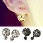 Alloy Ball Ear Studs Earrings Lady Double Sides Hollowed Gold Plated 0518 ZLJ