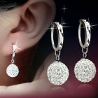 Womens 2 size Sterling silver Plated Crystal Hoop Dangle Earrings Free Shipping