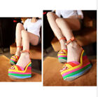 New Women's Buckle Platform Wedge High Heels Sandal Rainbow Ankle Strap Sandal