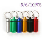 Aluminum Waterproof Pill Box Case Stash Holder Container Keychain 5/6/10pcs