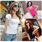 Fashion Women Slim Fit Cotton Crew Neck Short Sleeve Casual T-Shirt Tops Gorgeou