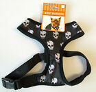 Dog Body Harness Black Skulls Pet Collar XS S M L NWT