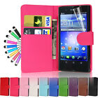 LEATHER FLIP WALLET CASE COVER FOR SONY XPERIA Z WITH SCREEN PROTECTOR