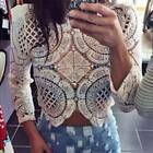 Fashion Women Sheer Sleeve Embroidery Lace Crochet Tee Shirt Casual Top Blouse