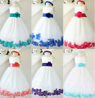 Gorgeous Ivory purple fuchsia red coral blue rose petals flower girl party dress