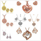 Love Heart or Round Shape Crystals Earrings Necklace Jewelry Set Gold Plated
