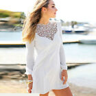 Sexy Women Long Sleeve Lace Chiffon Party Cocktail Short Mini Dress Vogue