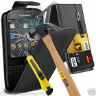 Blackberry Classic Q20 Leather Flip Phone Case+Tempered Glass LCD Screen Guard