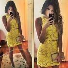 UK Sexy Women 2 Piece Sleeveless Crop Top Bodycon Crochet Skirt Yellow Dress Set