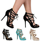 WOMENS LACE UP CUT OUT LADIES STRAPPY HIGH HEEL SANDALS STILETTO SHOES SIZE 3-8