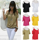 Fashion Sexy Womens Strap Off Shoulder Tee Loose T Shirt Blouse Top Summer Vest