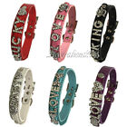 Croc Personalised Pet Dog Cat Collar Rhinestone Name Bling Charms PU Leather DIY