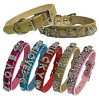 Bling Leather Personalized Rhinestone Letter Name Charm Pet Cat Dog Collar DIY