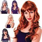 Long Curly Wig Blond Silver  Brown Plum Temptress Fancy Dress Party Costume Wig