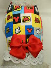 DOG CAT FERRET Custom Harness~Mickey Mouse Disney Ears Red Blue Yellow Bow Lace
