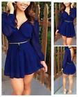 Fashion Sexy Women Deep V Neck Long Sleeve Chiffon Evening Short Mini Dress - LD