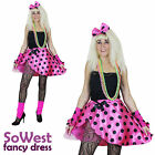 80s Fancy Dress Costume Ladies Tutu Kit Pink 90s Gaga Madonna Nights 3 pc Outfit