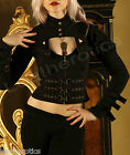 BLACK COTTON STEAMPUNK GOTH VICTORIAN LADIES TOP JACKET COPPER METAL STP01