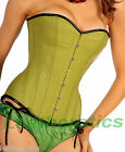 Lime green Leather corset basque bustier corsage overbust