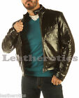 MEN'S GENUINE LEATHER JACKET WAIST LENGTH COWHIDE REGULAR BLACK GLAZED VP