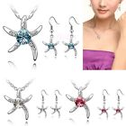 New Women Fashion Starfish Crystal Pendant Chain Necklace Dangle Earring Set Hot