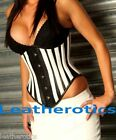 Steel Boned Black white under bust Leather corset was pie cinched top 1302