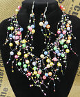 Latest Vintage Multilayer Net Faux Pearl Necklace Earrings Jewelry Unique Charm