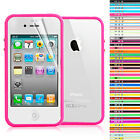 New Tpu Bumper Case Cover With Metal Button For Apple iPhone 4 4S Free Screen