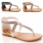 LADIES WOMENS DIAMANTE SANDALS TOEPOST SUMMER HOLIDAY FAUX LEATHER SHOES SIZE