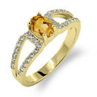1.08 Ct Oval Natural Yellow Citrine 18K Yellow Gold Ring