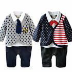 Toddler Baby Boy Newborn Gentleman Clothes Bow Tie Stripe Polka Dots Sets Romper