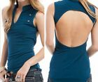 Teal Military Style Look w/ Studs @ Front/Open Back/Vee Neck Sleeveless Top