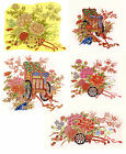 Ceramic Decals Oriental Style Flower Floral Cart  Bright Gold Accents image