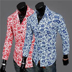 2015 Spring Boutique Fashion Men's long-sleeved Floral Cotton Shirt Top Red Blue